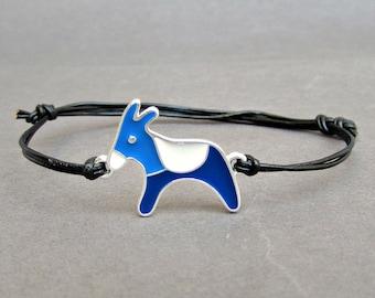 Donkey Unisex Bracelet, Silver Blue Donkey Charm, Leather Bracelet For Men, Gift for him, Bestfriend Bracelet, mens jewelry, Adjustable