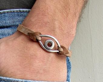 Boho Eye Bracelet Mens Leather Bracelet Cuff  Customized On Your WristFathers day gift