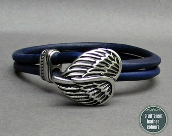 Angel Wings Leather Bracelet, Stainless Steel Mens Leather bracelet Cuff Gift For Men Customized On Your WristFathers day gift