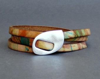 Wrap Mens Bracelet, Multicolor Wrap Leather Bracelet For Men Boho Unisex Bracelet, Adjustable to your wrist