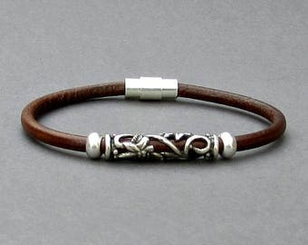 Mens Leather Bracelet, Tribal Silver Mens Beaded Bracelet, Bracelet For Him, Antique Silver Plated, Customized On Your Wrist