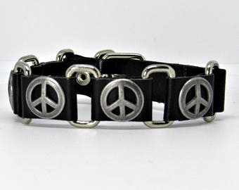 Black Leather Gothic Bracelet, Unisex Leather Bracelet Cuff, Adjustable