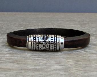 NEW DESIGN Mens Bracelet,Stainless Steel, Silver Leather Bracelet, Leather Mens Bracelet, Customized On Your Wrist