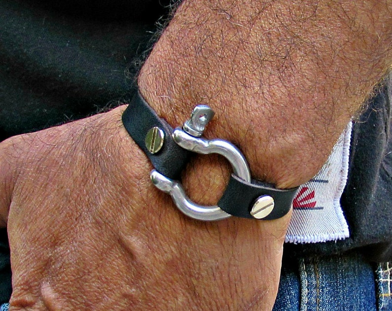 bf9ce87d560cb Mens Leather Bracelet Mens Shackle Leather bracelet Cuff Customized On Your  Wrist