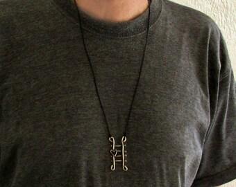 Unisex Staircase Necklace, Pendant, Unisex Silver Leather Necklace Pendant, Unisex Jewelry Girlfriend, Boyfriend Gift
