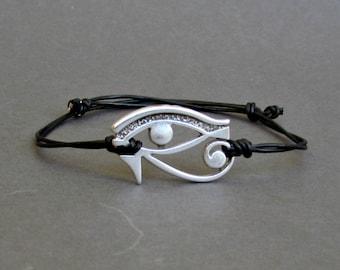 Eye Of Horus, Silver Bracelet, Eye Of Ra, Unisex Leather Cord Bracelet His And Hers Silver Dainty Bracelet Adjustable
