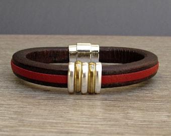 Boyfriend Gift, Mens Leather Bracelet, Silver Bronze  Leather Mens Bracelet Cuff, Bracelet For Men, Magnetic Clasp Customized On Your Wrist