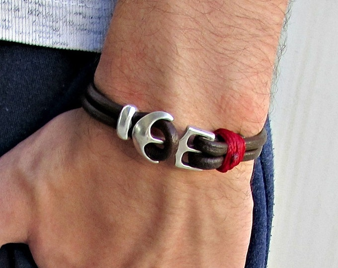Featured listing image: Anchor Mens Bracelet Mens Leather bracelet Cuff  Customized On Your Wrist