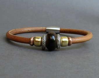 Tiger's Eye Leather Bracelet For Men Women Beaded Gemstone Bracelet Silver Bracelet Boyfriend Gift Mens Jewelry customized to your wrist