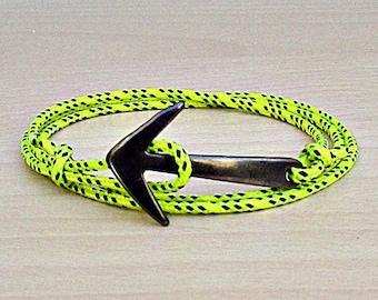 Nautical Anchor Bracelet Mens Nautical Rope Anchor wrap Bracelet Paracord Bracelet Adjustable