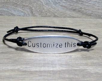 NEW DESIGN Personalized Mens Leather Bracelet, Custom Mens Unisex, Engraved Bracelet, Gift For Men Women, Boyfriend Gift, Adjustable
