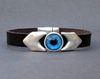 Evil Eye Mens Bracelet Arrow Blue Eye Leather Mens Bracelet Cuff Silver Plating Magnetic Clasp Customized On Your Wrist
