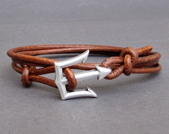 Trident Leather Bracelet Mens Nautical Wrap Bracelet Unisex Leather Bracelet Adjustable w5