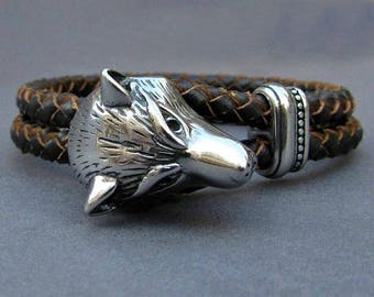 Wolf Head, Braided Leather Bracelet, Mens Stainless Steel Leather bracelet Cuff Gift For Men Customized On Your WristFathers day gift