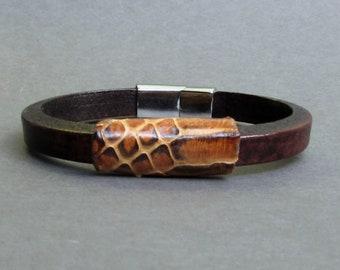 Mens Python Bracelet, Leather Bracelet For Men, Leather Mens Bracelet, Boyfriend Gift, Customized On Your Wrist Fathers day gift