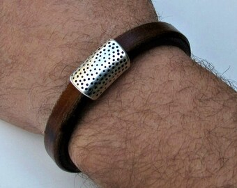 Men Leather Bracelet Leather Mens Bracelet Cuff Brown Black Silver Plated Magnetic Clasp Customized On Your Wrist