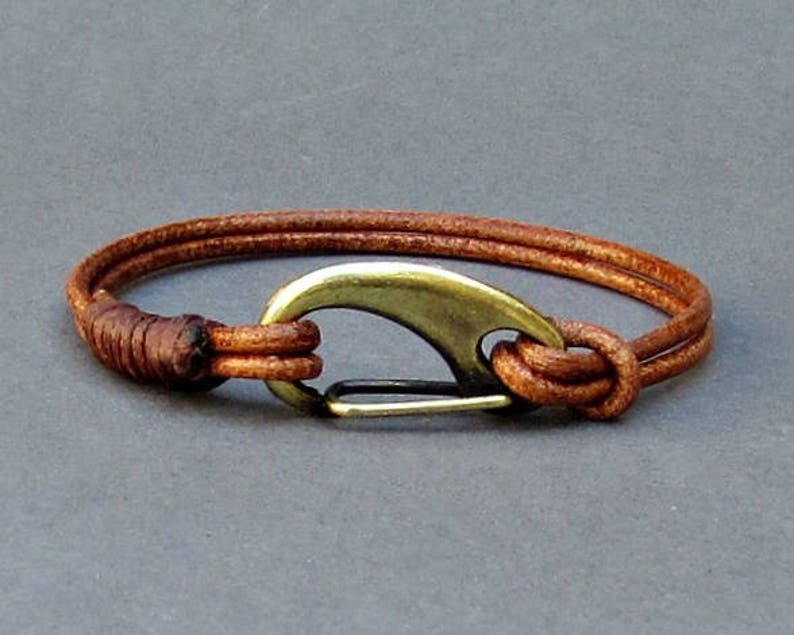 f4683a0f12cdd Mens Leather Shackle Bracelet Mens Bronze Nautical Carabiner Leather  bracelet Cuff Customized On Your Wrist