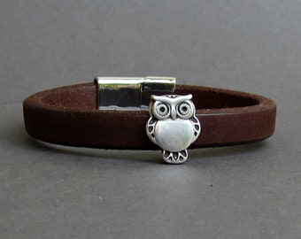 Owl Men's Leather Bracelet Leather Mens Bracelet Cuff Silver Plating Magnetic Clasp Customized On Your Wrist Fathers day gift