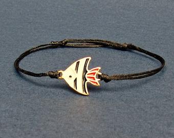 Tropical Fish, Bracelet, Unisex Gold Fish Charm, Cord Bracelet For Men Women, Gift for him, her, Unisex Jewelry, Adjustable