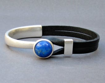 Gemstone Leather Bracelet For Men Silver Bracelet Eye Tiger, onyx, Sodalite, Agate, Aventurine, Haolite, Unakite, Carnelian, Jasper