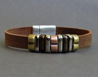 Bracelet For Men, Leather Mens Bracelet, Beaded Bracelet, Boyfriend Gift,  Customized On Your Wrist