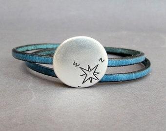 Compass Bracelet, Double Wrap Leather Bracelet, Unisex Bracelet, Boyfriend Gift, Gift For Him, Wide 3 mm Customized On Your Wrist