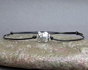 NEW DESIGN Tiny Owl Men's Bracelet, Silver Owl Charm, Leather Bracelet For Men, Gift for him, Bestfriend Bracelet, mens jewelry, Adjustable