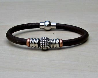 Mens Leather Bracelet, Mens Beaded Bracelet, Bracelet For Him, Antique Silver Plated, Customized On Your Wrist