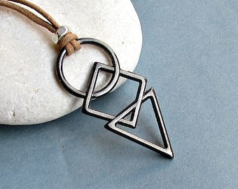 Mens Geometric Necklace Gunmetal Silver Long Leather Necklace Pendant Adjustable