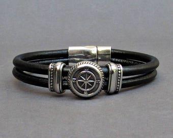 Compass Bracelet Mens Leather Bracelet, Leather Bracelet For Men, For Husband,  For Boyfriend, For Him, Boyfriend Gift, Mens Gift