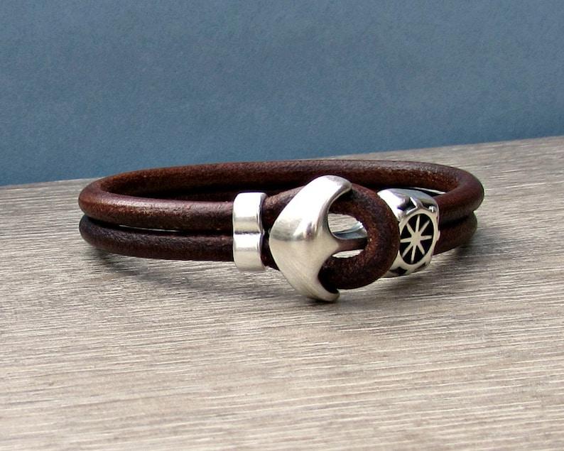 Anchor Bracelet Mens Leather bracelet Cuff Sailing Bracelet image 0