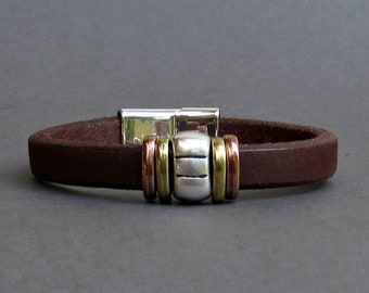 Rustic Men's Leather Bracelet Leather Mens Bracelet Cuff Silver Plating Magnetic Clasp, Boyfriend Gift Customized On Your Wrist