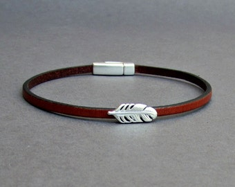 Feather Bracelet Mens Tiny Leather Bracelet Dainty Bracelet Boyfriend Gift Customized On Your Wrist width 3mm Fathers day gift