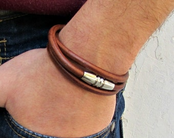 Wrap Mens Leather Bracelet Cuff, Stainless Steel Mens cord Bracelet Boyfriend Gift, Husband Gift, Customized To Your Wrist