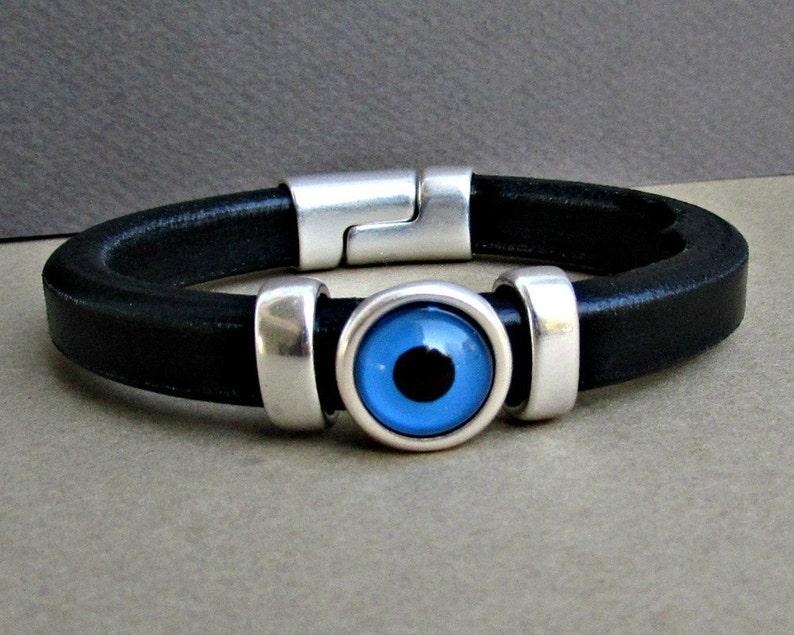 Evil Eye Mens Bracelet Blue Eye Leather Mens Bracelet Cuff Silver Plating Magnetic Clasp Customized On Your Wrist