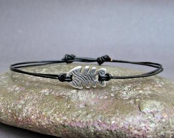 Tiny Fish Men's Bracelet, Silver Fish Charm, Leather Bracelet For Men, Gift for him, Bestfriend Bracelet, mens jewelry, Adjustable