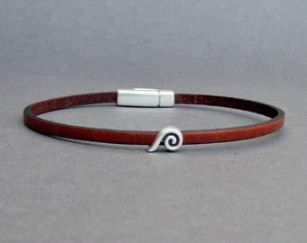 Wave Bracelet Mens Tiny Leather Bracelet Ocean Wave Dainty Bracelet Boyfriend Gift Customized On Your Wrist width 3mmFathers day gift