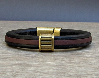 Bracelet For Men, Mens Leather Bracelet, Antique Bronze  Leather Mens Bracelet Cuff, Boyfriend Gift, Magnetic Clasp Customized On Your Wrist