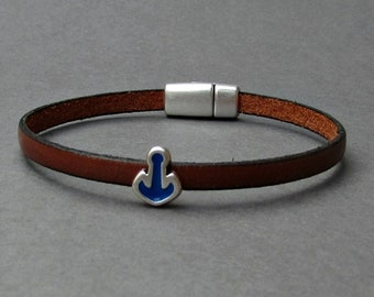 Blue Anchor Mens Leather Bracelet Leather Mens Bracelet Cuff Brown Black  Silver Plated Magnetic Clasp Customized On Your Wrist
