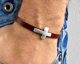 Cross  Mens Leather Bracelet Cuff Dainty Silver Unisex Bracelet Customized On Your WristFathers day gift
