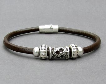 Bracelet For Men, Mens Leather Bracelet, Silver Mens Beaded Bracelet, Bracelet For Him, Antique Silver Plated, Customized On Your Wrist