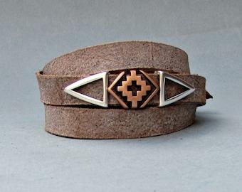Gothic Mens Leather Wrap Bracelet Cuff, Cross Unisex Bracelet, Adjustable to your wrist