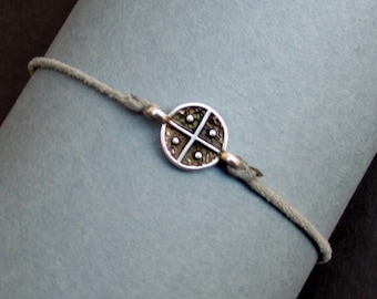 Cross Bracelet, Silver Cross Charm, Cord Bracelet For Men, Elastic Bracelet, Bestfriend Bracelet, Adjustable  6 - 9 1/2 Inches