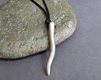 Silver Mens Horn Necklace, Pendant, Unisex Horn Long Leather Necklace Pendant, Mens Gift, Adjustable