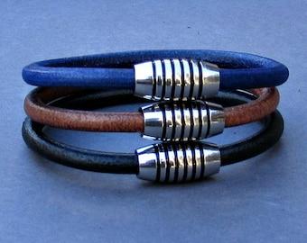 Stainless Steel Mens Leather Bracelet, For Men, For Husband,  For Boyfriend, For Him, Boyfriend Gift, Gift,  Men's Bracelet,  Mens Gift