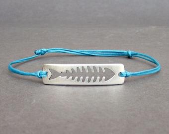 Fishbone, Men's Bracelet, Silver Fish Charm, Cord Bracelet For Men, Gift for him, Bestfriend Bracelet, mens jewelry, Adjustable