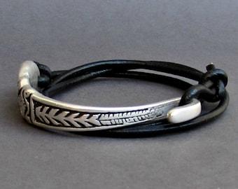 Silverware Jewelry, Silver Fork Bracelet, Eco Friendly Spoon Bracelet, Wrap Leather Bracelet, Adjustable