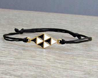 Geometric Unisex Bracelet, Gold Rhombus , Cord Bracelet For Men Women, Gift for Him Her, Bestfriend Bracelet, mens jewelry, Adjustable