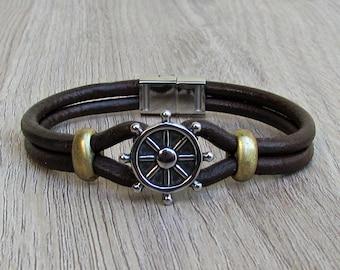 Nautical Wheel Bracelet Mens Leather Bracelet, Leather Bracelet For Men, For Husband,  For Boyfriend, For Him, Boyfriend Gift, Mens Gift