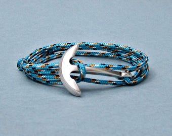 Nautical Anchor Bracelet Mens   Fish Hook Paracord wrap Bracelet Arrowhead Leather Bracelet Adjustable